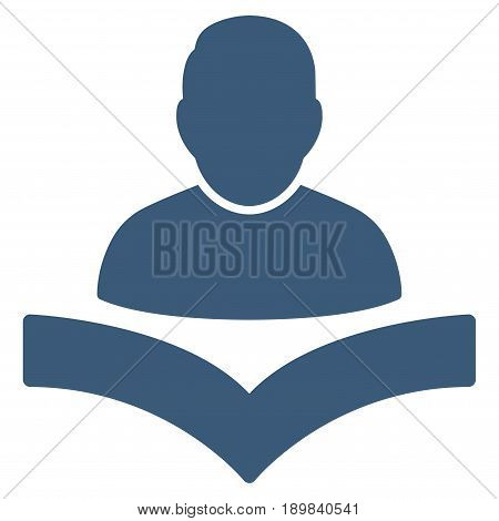 Blue Reader Boy interface icon. Vector pictogram style is a flat symbol on diagonal hatch transparent background.