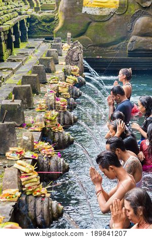Tirta Empul Hindu Balinese Temple With Holy Spring Water In Bali, Indonesia