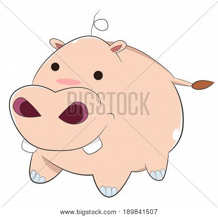 Happy Cartoon Baby Hippo, A Pink Cartoon Baby Hippopotamus with small circle black eyes, big nose and nostrils, fat round body and white, shiny front teeth, smiling and looking cute. Hippopotamus is His Full Name, and He's not a Little Pig.