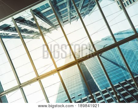 Architecture details Glass roof Modern building Business Background
