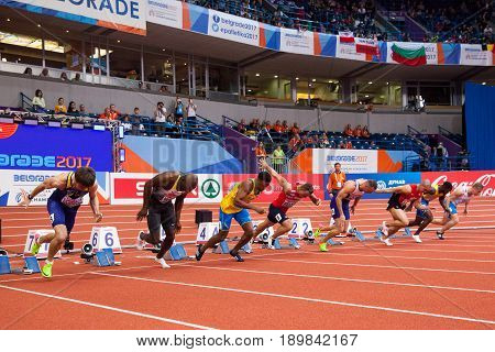 BELGRADE SERBIA - MARCH 3-5 2017: MAN 60M EUROPEAN ATHLETICS INDOOR CHAMPIONSHIPS IN BELGRADE SERBIA
