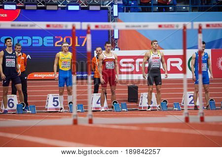 BELGRADE SERBIA - MARCH 3-5 2017: MAN HEPTATHLON 60M HURDLES PESIC DARKO EUROPEAN ATHLETICS INDOOR CHAMPIONSHIPS IN BELGRADE SERBIA