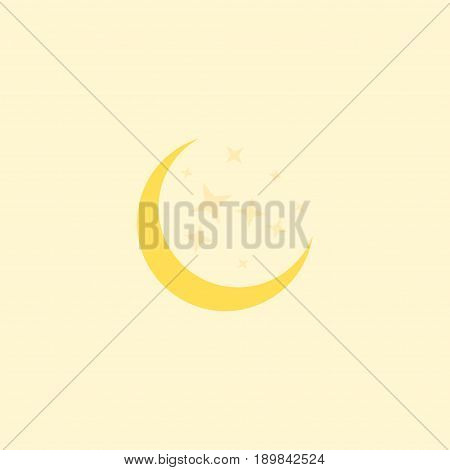 Flat Moonlight Element. Vector Illustration Of Flat Night Isolated On Clean Background. Can Be Used As Moon, Starts And Night Symbols.