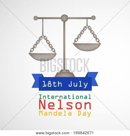 illustration of Balance with 18th July International Nelson Mandela Day Text
