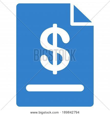 Cobalt Invoice toolbar icon. Vector pictogram style is a flat symbol on diagonal hatch transparent background.
