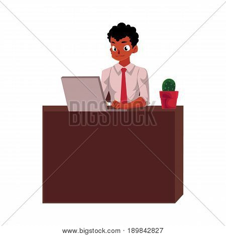 Black, African American businessman working on computer, sitting at office desk, cartoon vector illustration isolated on white background. Black businessman, worker, employee working in office