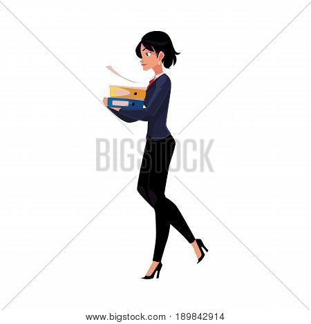 Young pretty businesswoman, woman, girl in business suit carrying document folders, cartoon vector illustration isolated on white background. Businesswoman with folders of documents, workload concept