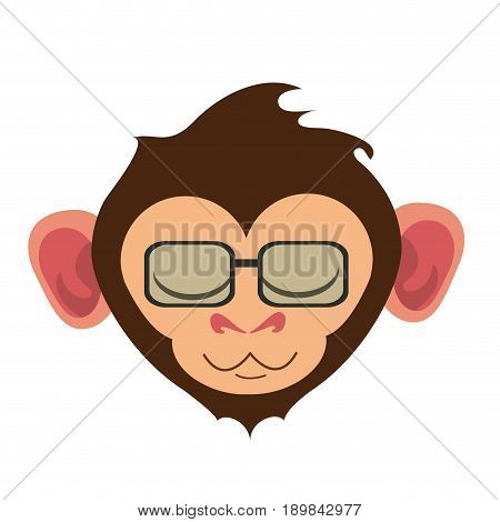 relaxed or in bliss cute expressive monkey wearing glasses  cartoon  icon image vector illustration design