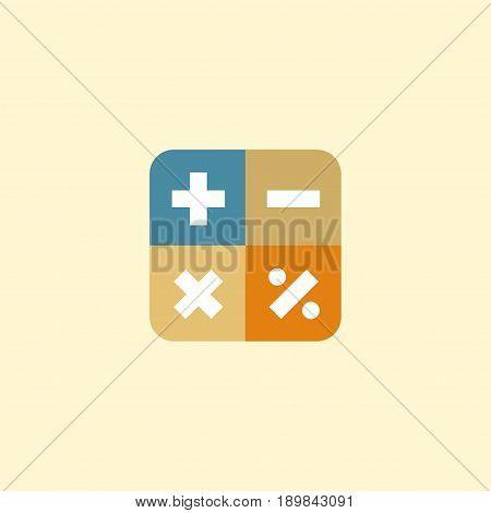 Flat Math Element. Vector Illustration Of Flat Algebra Isolated On Clean Background. Can Be Used As Algebra, Calculate And Math Symbols.