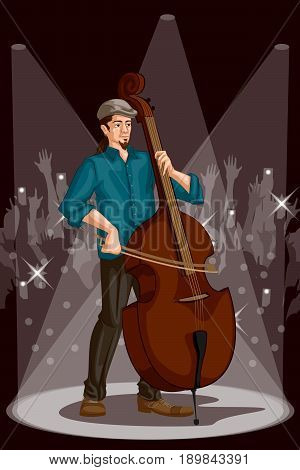 Man playing Double bass in Music band performance. Vector illustration