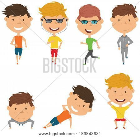 Running boys. Summer male workout exercise: jogging squats side plank and push ups. Fitness sport people vector set. Active healthy training outside.