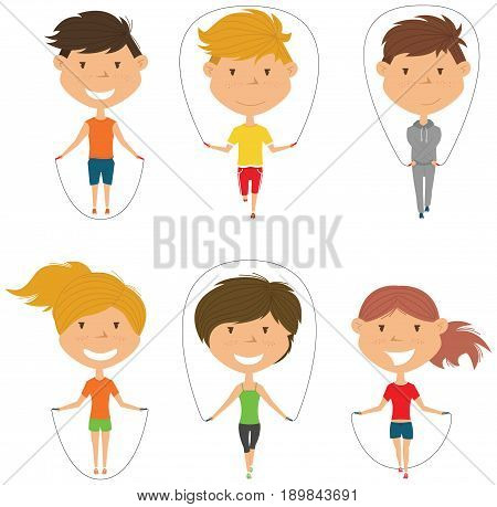 Cute boys and girls skipping vector set. Kids do fitness exercises with jumping rope. Active healthy people lifestyle.