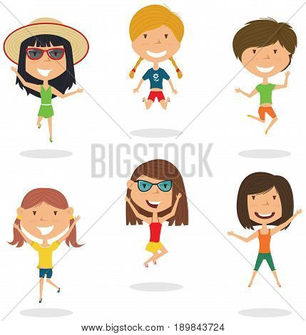 Happy cartoon girls jumping. Vector flat style summer teens playing outdoor. Funny childhood illustration.