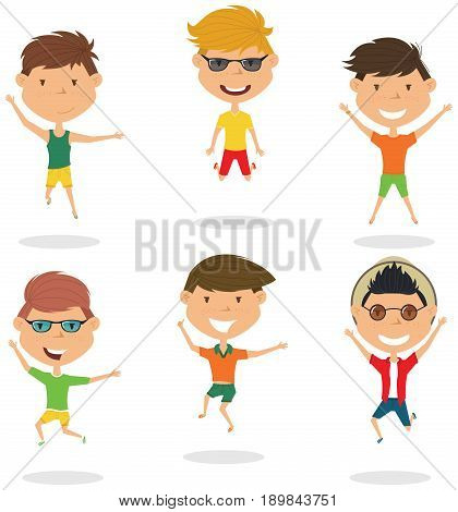 Happy cartoon boys jumping. Vector flat style summer teens playing outdoor. Funny childhood illustration.