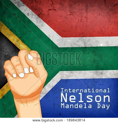 illustration of hands and International Nelson Mandela Day Text on South Africa flag background
