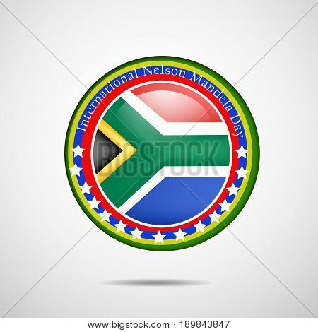 illustration of stamp in South Africa flag background with International Nelson Mandela Day Text