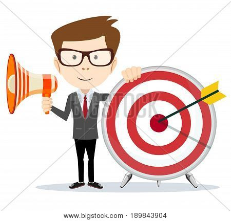 Cartoon businessman holding target and megaphone. Stock vector illustration for poster, greeting card, website, ad, business presentation, adve