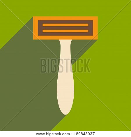 Flat with shadow icon and mobile application shaver