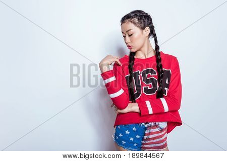 Sensual Stylish Hipster Asian Girl In American Patriotic Outfit Isolated On Grey, American Culture C