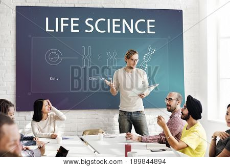 Group of students learning biology humanity life science genetic research