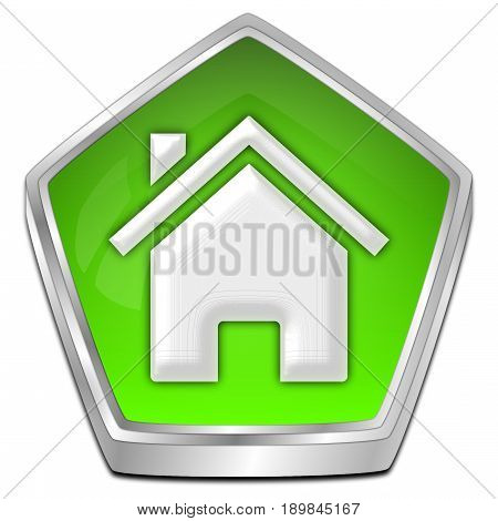 decorative green Home Button - 3D illustration