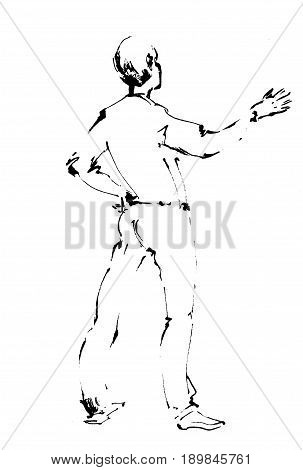 Man speaks in front of the public, reads poetry, poems, lyrics. Speech businessman with hand gesture. Image Illustration