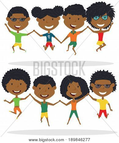 Cute African-American couples jumping outdoor vector illustration. Cheerful young boys and girls make a jump isolated on a white background. Happy teenagers lifestyle.