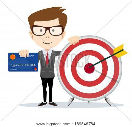 Cartoon businessman holding target and plastic card. Stock vector illustration for poster, greeting card, website, ad, business presentation, adve