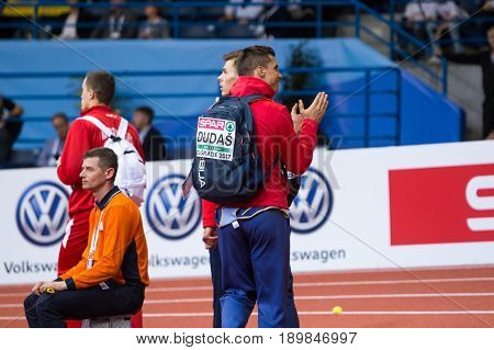 BELGRADE SERBIA - MARCH 3-5 2017: MAN HEPTATHLON DECATHLON DUDAS MIHAIL EUROPEAN ATHLETICS INDOOR CHAMPIONSHIPS IN BELGRADE SERBIA