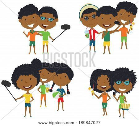 Summer African-American male and female characters make a selfie vector illustration. Happy cute girls and boys do group summer photos. Friendly teens posing in front of the camera smartphone.