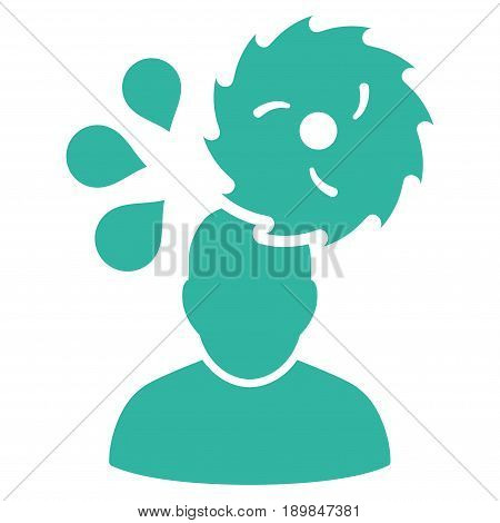 Cyan Circular Saw Accident toolbar pictogram. Vector pictograph style is a flat symbol on diagonal hatch transparent background.
