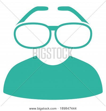 Cyan Clever Spectacles interface toolbar icon. Vector pictogram style is a flat symbol on diagonal hatch transparent background.