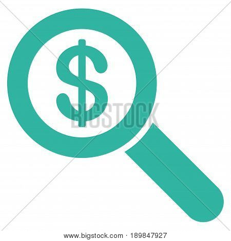 Cyan Financial Audit Loupe interface pictogram. Vector pictogram style is a flat symbol on diagonal hatch transparent background.