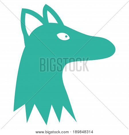 Cyan Fox Head interface toolbar pictogram. Vector pictogram style is a flat symbol on diagonal hatch transparent background.