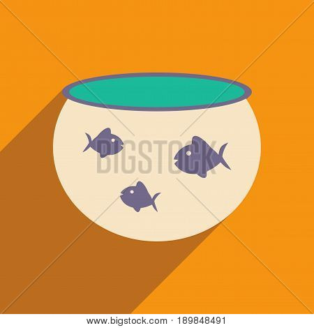 Flat with shadow icon and mobile application aquarium fish