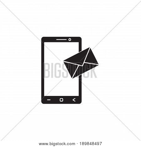 Mobile mail solid icon, sms sign, message, social media, vector graphics, a filled pattern on a white background, eps 10.