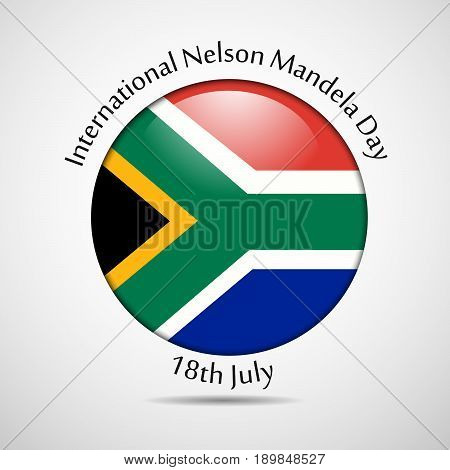 illustration of button in south Africa flag background with International Nelson Mandela Day text