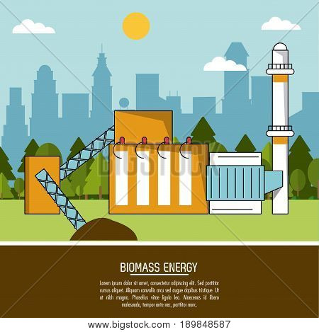color landscape background biomass energy plant vector illustration