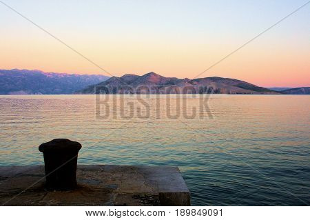 sundown on the island Krk in Baska, Croatia