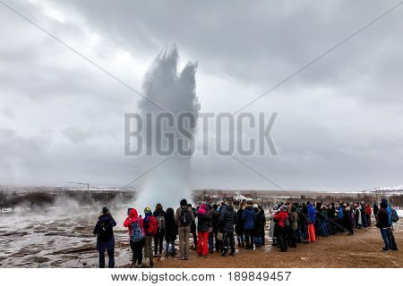 Erupting Of The Great Geysir Lies In Haukadalur Valley
