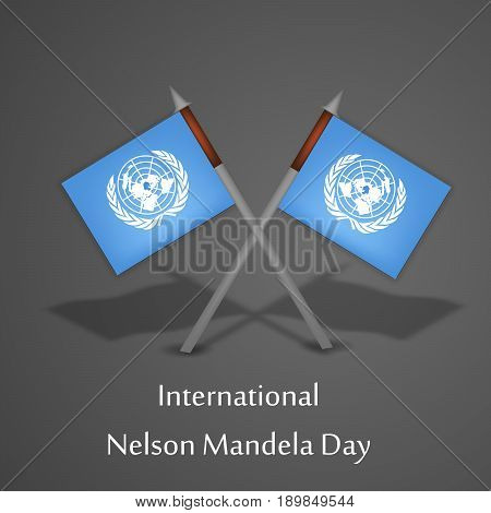 illustration International Nelson Mandela Day text with flags