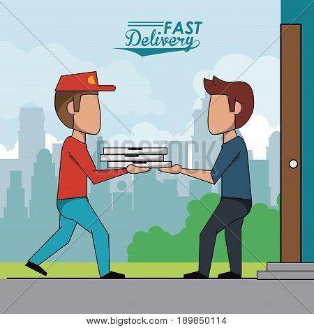 poster scene city landscape of man delivering pizza to customer vector illustration