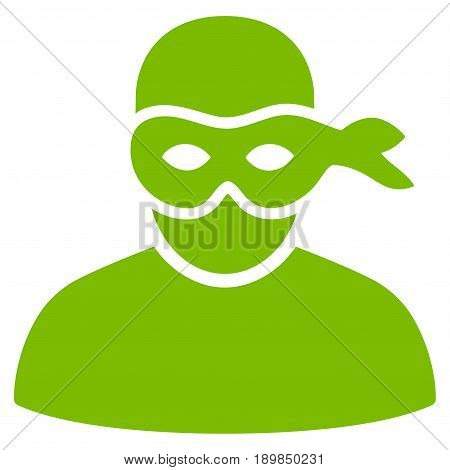 Eco Green Anonimious Thief toolbar icon. Vector pictogram style is a flat symbol on diagonal hatch transparent background.