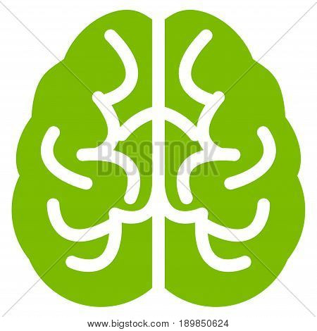 Eco Green Brain toolbar icon. Vector pictogram style is a flat symbol on diagonal hatch transparent background.
