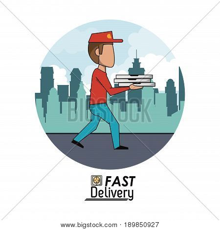 circular frame poster city landscape with fast pizza delivery man vector illustration