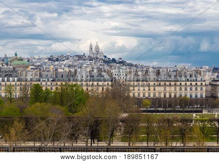 Aerial view of Paris with The Basilica of the Sacred Heart
