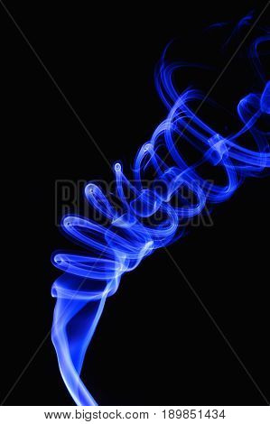 Blue Abtract Smoke isolated on black background