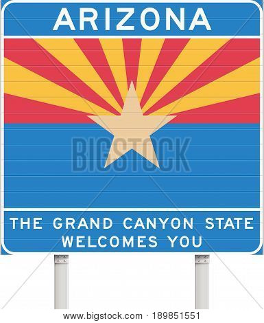 Vector illustration of the Arizona state welcome road sign