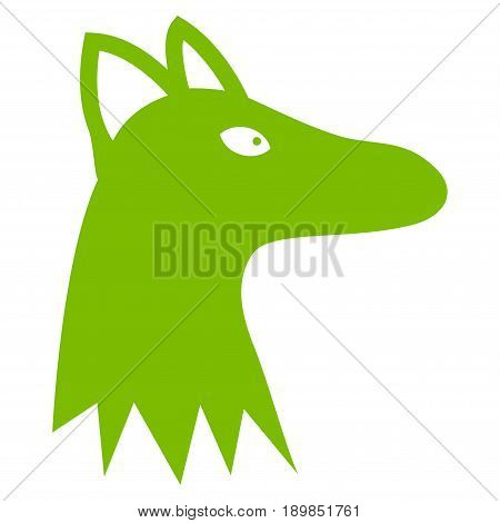 Eco Green Fox Head interface toolbar icon. Vector pictograph style is a flat symbol on diagonal hatch transparent background.