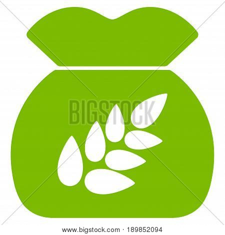 Eco Green Grain Harvest toolbar pictogram. Vector pictograph style is a flat symbol on diagonal hatch transparent background.